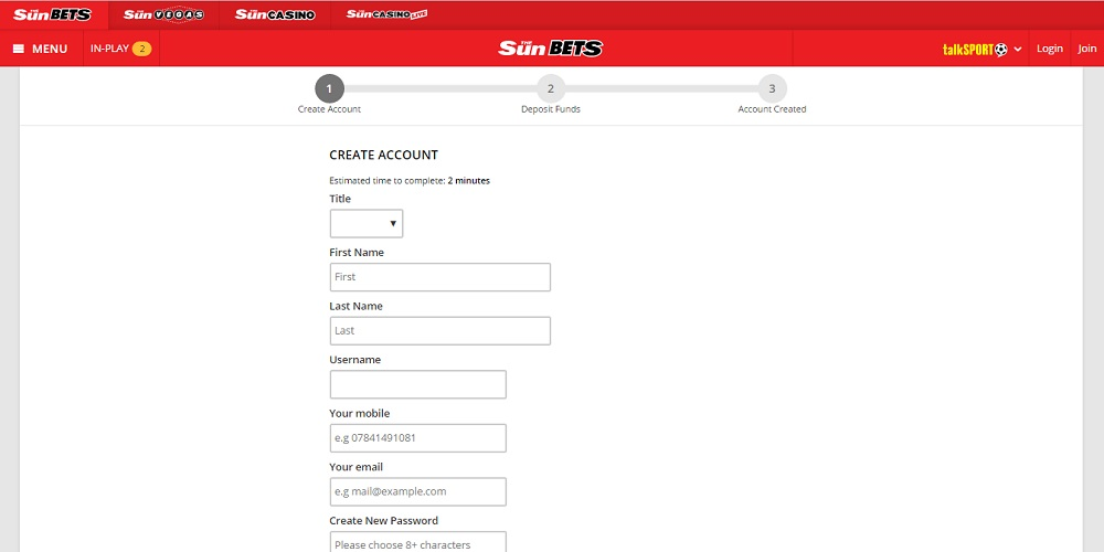 Sunbets Registration